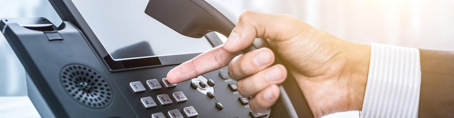 someone using the telephone